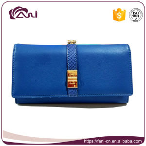 Factory Wholesale Women Wallet Blue PU Leather Women Wallet Long Style Purse for Lady pictures & photos