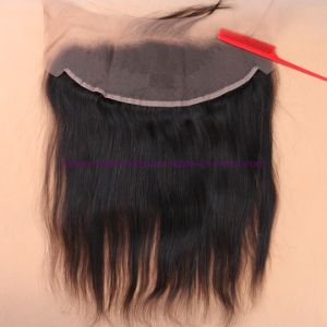 8A Full Frontal Lace Closure 13X4 with Bundles Straight Peruvian Virgin Hair with Closure Cheap Ear to Ear Lace Frontal Closure