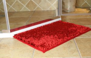 Shiny Chenille Long Pile Bathroom Door Mat with Anti Slip Base