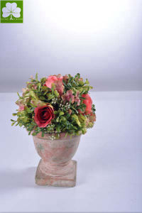 Plastic Flowers Rose and with Boxwood Ball Topiray in The Cement Pot for Christimas Gift