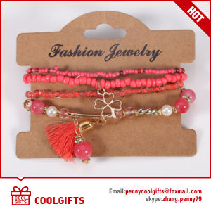 Fashion Jewelry Clover Pendent Beads Bracelet with Tassels pictures & photos