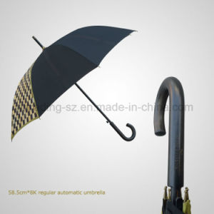 Wooden Handle and Shaft Regular Automatic Gift Umbrella pictures & photos