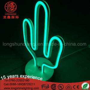 High Quality Neon Sign Decoration LED Cactus Sculpture Flamingo Table Lamp for Room pictures & photos