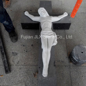 White Marble Hand Carving Jesus Cross Sculpture pictures & photos