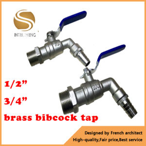 "1/2"" 3/4"" Bsp Thread One Way Flow Water Brass Bibcock Valve pictures & photos"