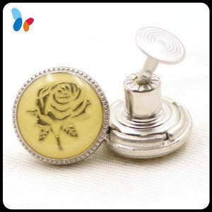 Epoxy Decorative Flower Logo Alloy Metal Jeans Button for Women Jeans pictures & photos
