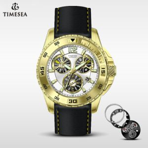 Stainless Steel Automatic Watch Men′s Leather Strap Luxury Wrist Watch72298 pictures & photos