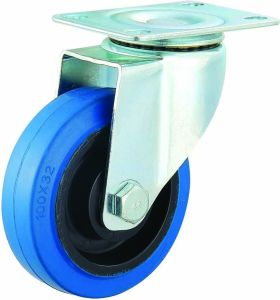 3-5 Inch Elastic Rubber Caster Noiseless Industrial Swivel Castor Wheels with Brake pictures & photos