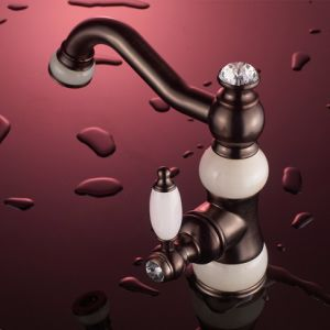 Flg Antique Oil Rubbed Bronze Jade Painting Bathroom Basin Faucet pictures & photos