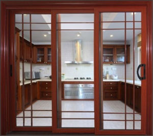 Trackless Double Tempered Glass Aluminum Sliding Door for Kitchen pictures & photos