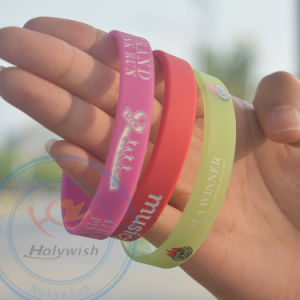 Screen Printed Logo Silicone Bracelet Make Your Own Wristbands pictures & photos