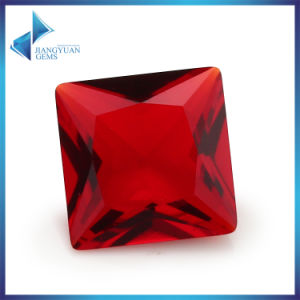 Glass Stone Cutting Machine Square Cut Garnet Red Glass Stone pictures & photos