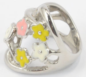 Fashion Epoxy Stainless Steel Pretty Flower Colorful Ring pictures & photos