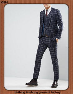 Men Three Piece Plaid Wedding Dress Suit pictures & photos