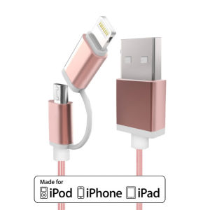 2 in 1 Nylon USB Data Charging Cable for iPhone or Android mobile Phone pictures & photos