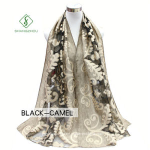 Hot Sale Lady Fashion Silk Woven Scarf with Cutting Flower pictures & photos