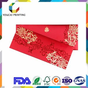 Rectangular Lovely Wedding Invitations Cards with Red Diamond Decoration pictures & photos