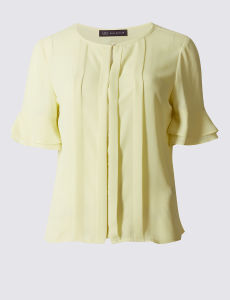 Round Neck Short Sleeve Chiffon Blouse pictures & photos