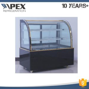 Display Cake Showcase 3-Layer Curved Glass Door Black Marble Base pictures & photos