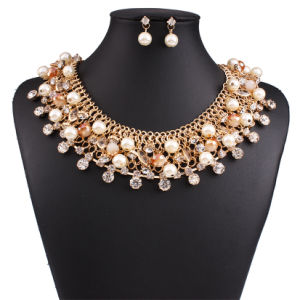 Fashion Luxury Diamond Rhinestone Crystal Pearl Statement Choker Necklace Earring Set Jewelry pictures & photos