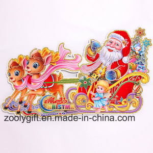 Customized 3D Santa Claus Riding on Sleigh Reindeers Glitter Christmas Ornament Window Stickers pictures & photos