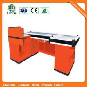 Supermarket electric Stainless Checkout Counter with Conveyor Belt pictures & photos