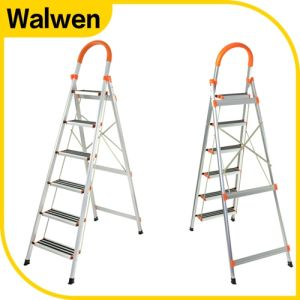 Factory Price Superlight Folding Steel Step Ladder with Safe Rail pictures & photos