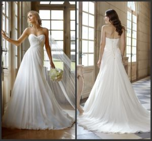 Sweetheart Bridal Dresses Beading Chiffon Beach Wedding Gowns D1054 pictures & photos