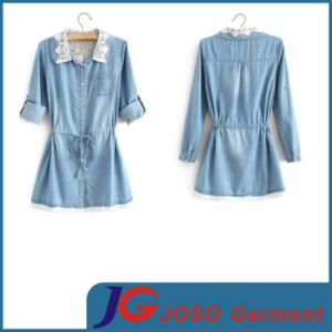 White Lace Collar Sleeve Variable Long Jeans Girdling Clothing (JC4106) pictures & photos