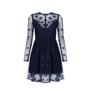 Black A-Line Lace Long Sleeves Ladies Short Evening Dress pictures & photos
