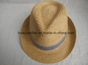 100% Raffia Straw Leisurely Style Fedora Hats pictures & photos