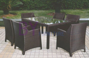 Black Simple Outdoor Patio PE Rattan Furniture with Rectangle Table pictures & photos