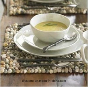 Yellow/Black/White Stone Cup Mat for Decoration Placemat pictures & photos