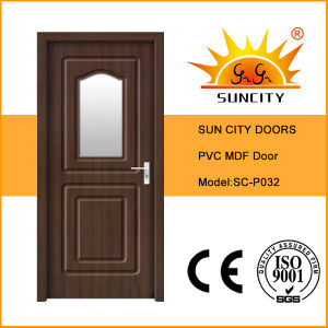 Modern Wood Door with Glass Interior (SC-P032) pictures & photos