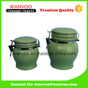 Attractive New Green Airtight Ceramic Biscuit Jar pictures & photos