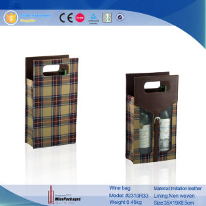 Professional Manufacturer Handmade Two Bottle Cheap Wine Bag (2310R32) pictures & photos