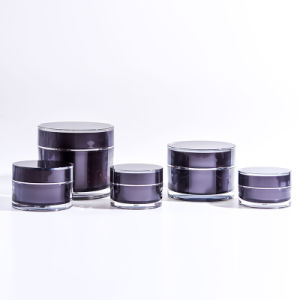 15g-200g Black Round Acrylic Cream Jars pictures & photos