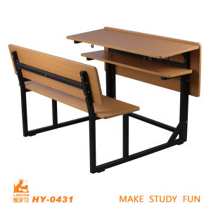 Used for School Wooden Double Desk and Chair pictures & photos