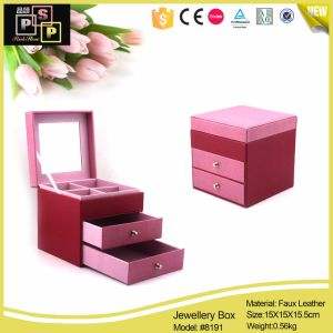 Pink Color Jewelry Box Made From Leather pictures & photos