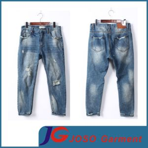 Men Size Men′s Jeans Shop Knee Broken Jeans (JC3388) pictures & photos