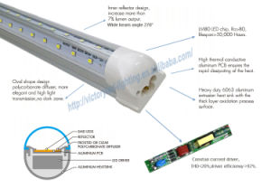 Free Shipping T8 8FT 60W V-Shape Integrated LED Tube Light pictures & photos