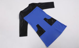 Hot Selling European Round Collar Leather Splicing Dresses for Women pictures & photos