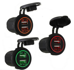 Universal Water Resistant DC 12V Dual USB Charger Car Cigarette Lighter Power Socket pictures & photos