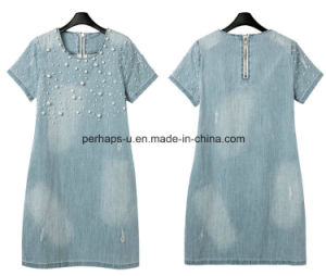 High Quality Bead Maternity Wear Printing Women Clothes Jeans Dress pictures & photos
