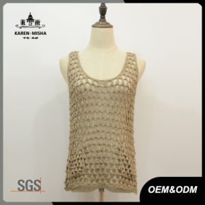 Lady′s Casual Sleeveless Net Pocket Vest Sweater pictures & photos