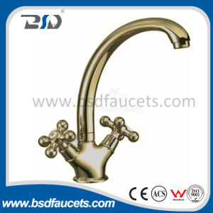 Cross Handle Brass Bronze Kitchen Sink Faucet with Swiveling Spout pictures & photos