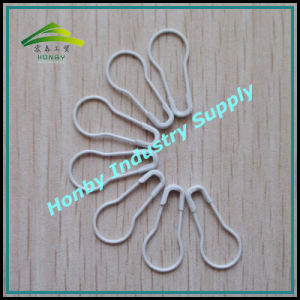 22mm White Pear Shaped Bulb Safety Pins (P160219D)