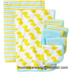 Knitted Cotton Printed Baby Blanket and Washcloth Set in China pictures & photos