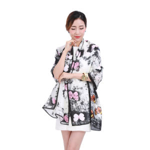 Fashion Style Polyester Butterfly Printed Scarf for Women pictures & photos