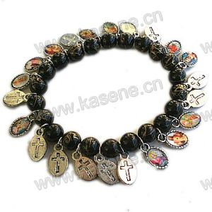 Cheap Glass Pearl Beads with Saint Alloy Sheet, Religious Prayer Bracelet pictures & photos